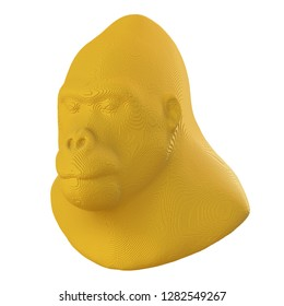 Yellow voxel gorilla head on a white background. 3D illustration.