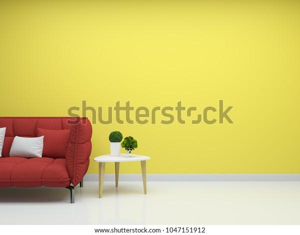 Yellow Wall Dark Red Sofa Tree Stock Illustration 1047151912