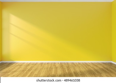 Yellow wall of empty room with hardwood parquet floor and sunlight from window on the wall, minimalist interior, 3d illustration