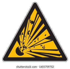 Yellow warning explosivive substances sign