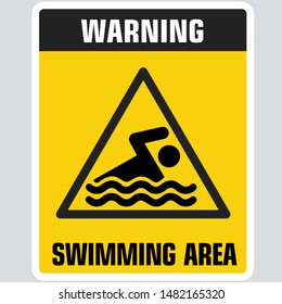 Yellow warning swimming sign icon. Sign yellow triangle with swimming area  sign. Illustration of attention swimming symbol sign in flat