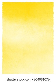 Yellow watercolor background with stains and rough, uneven edges. Watercolour texture. Hand drawn abstract aquarelle fill. Template for cards, banners, posters.