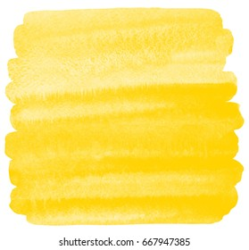 Yellow watercolor background with stains and rough, uneven edges. Painted watercolour texture. Brush stroke square shape. Bright aquarelle template for cards, banners, posters.