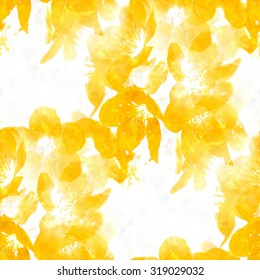 yellow watercolor flowers - seamless background