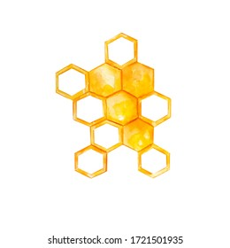 yellow watercolor honeycombs on a white background