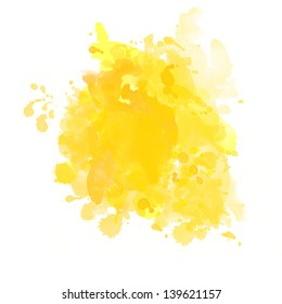 yellow watercolor on white background