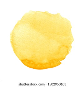 Yellow watercolor spot in the form of a circle on a white background. Figure created in the technique of sketch ink handmade. Summer. Sun. Abstract artistic frame, place for text or logo.