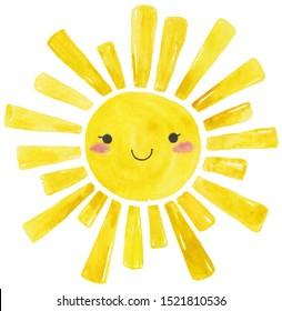 Yellow Watercolor sun, cartoon illustration over white background