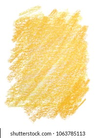 yellow wax pencil, crayon. A flourish on paper is a rectangle. texture on a white background.