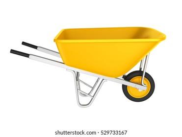 Yellow Wheelbarrow Isolated. 3D rendering