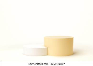 Yellow and White Color Product Stand. 3D Rendering