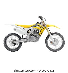 Yellow White Off Road Motorcycle Isolated on White Background. Modern Supercross Motocross Dirt Bike Side View. AWD All Wheel Drive Racing Sportbike. Personal Transport. 3D Rendering