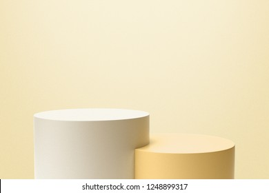 Yellow and White Product Stand on Light Yellow Background. 3D Rendering