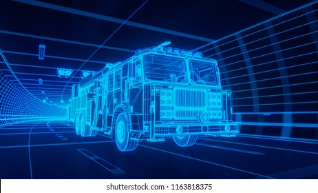 Yellow wireframe Fire Truck rides through Blue tunnel 3d rendering