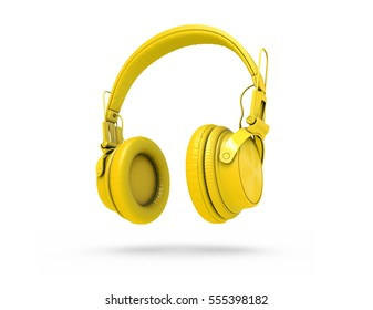 Yellow wireless headphones isolated on white background with shadow. 3d Rendering