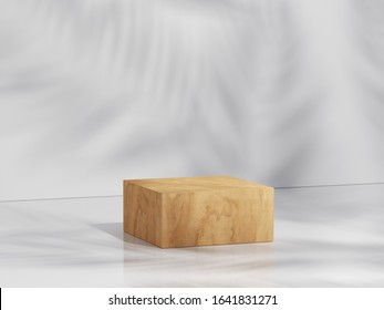 Yellow wood podium in white clean space with shadow of leaves. Product Presentation background. 3d rendering - illustration.
