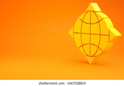 Yellow World globe with compass icon isolated on orange background. Minimalism concept. 3d illustration 3D render