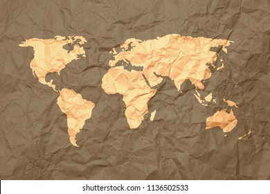 Yellow World Map on brown crumpled paper background