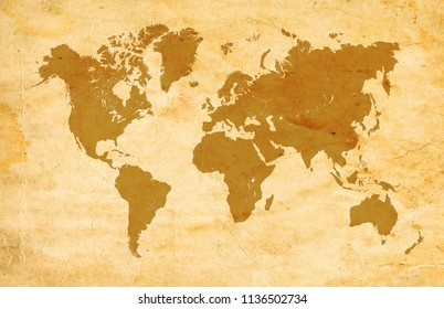 Yellow World Map on paper background