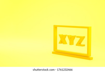 Yellow XYZ Coordinate system on chalkboard icon isolated on yellow background. XYZ axis for graph statistics display. Minimalism concept. 3d illustration 3D render