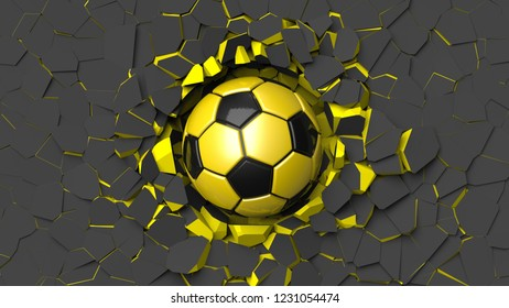 Yellow-Black Soccer ball crash old metallic wall and the wall was cracked. 3D high quality rendering.