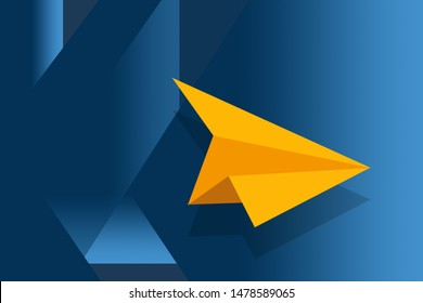 Yellow-colored paper plane lying on the blue colored runway like surface for the preparation of next flight with the concept of rapid growth, leadership, risk-taking, business, and financial concepts.