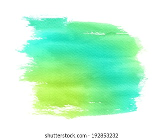 Yellow-green watercolor paint stain