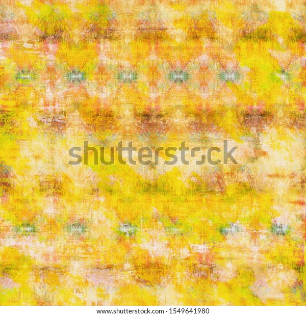 Yellow-white shabby vintage patterned background. Artificially aged bohemian wallpaper in grunge style. Design for handicraft and mass production of various goods.