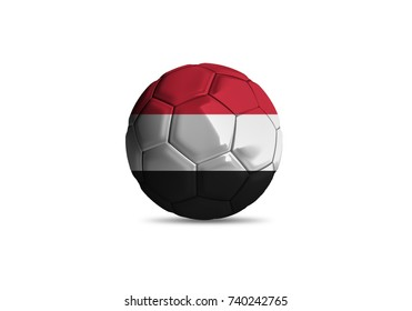 Yemen ball Flag, High quality render of 3D football ball