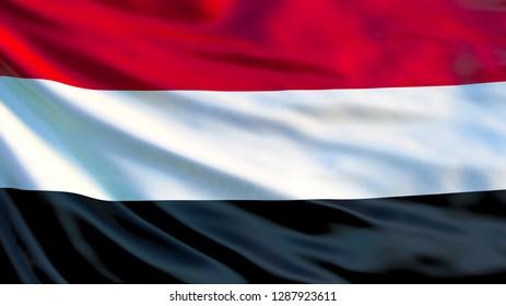 Yemen flag. Waving flag of Yemen 3d illustration. Sana'a