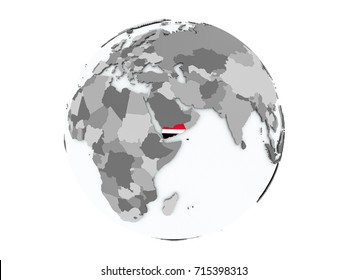 Yemen on political globe with embedded flags. 3D illustration isolated on white background.