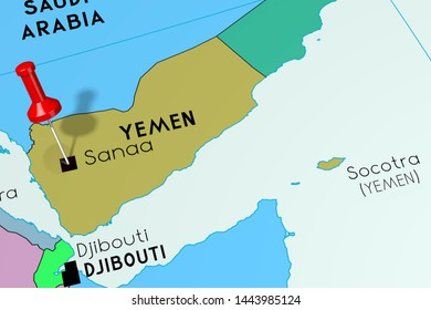Yemen, Sanaa- capital city, pinned on political map 3d