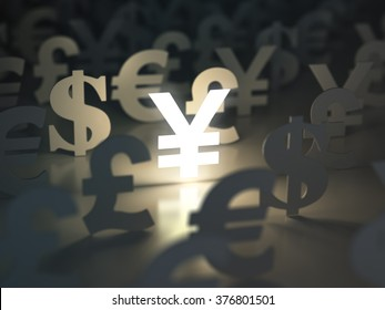 Yen, dollar, euro, and pound  signs. Currency exchange concept. 3d
