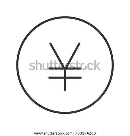Yen Sign Linear Icon Thin Line Stock Illustration 738174268