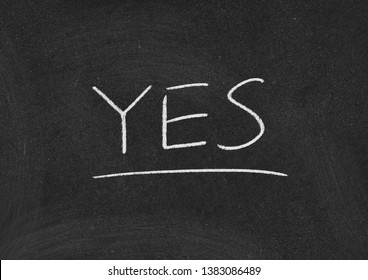 yes concept word on a blackboard background