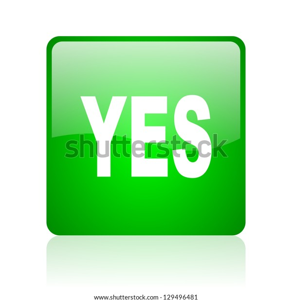 yes green square web icon on white background