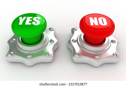 Yes and No buttons. 3D rendering illustration