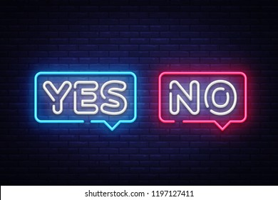 Yes No Neon Text . Yes No neon sign, design template, modern trend design, night neon signboard, night bright advertising, light banner, light art. illustration.