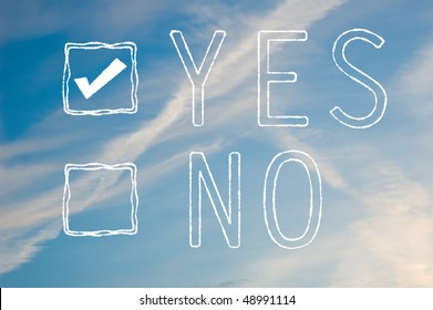 A yes or no tick box made out of white cloudy text against a blue sky. Yes is selected.