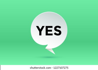 Yes. Paper bubble cloud talk and message Yes with shadow. White paper isolated cloud talk silhouette, text Yes. Elements for speech, message, social network, web. Graphic design. Illustration