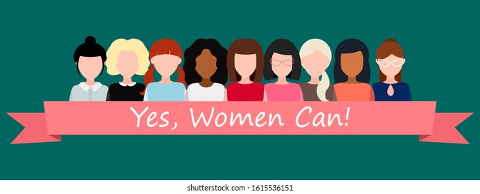 Yes, women can! Strong girl. Symbol of female power, woman rights, protest, feminism. illustration. Group of positive women without a face, United by a pink ribbon. raster copy