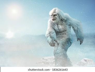 Yeti or abominable snowman 3D illustration