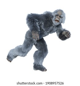 Yeti running away scared. 3d render isolated on a white background.