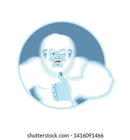 Yeti thumbs up. Bigfoot winks emoji. Abominable snowman cheerful.
