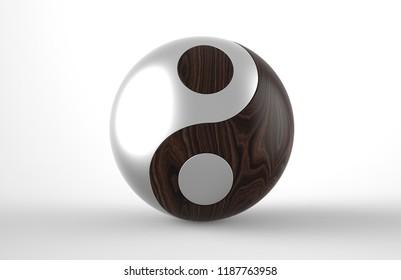 Yin & Yang Aluminum+wood 3d