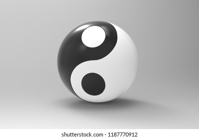 Yin & Yang ball 3d render