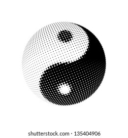Yin Yang dotted halftone pattern background