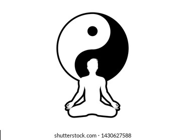 Yin Yang Man illustration. Yin Yang Symbol with Man. Yin yang symbol illustration. Silhouette of man in yoga position. Black and white Yin Yang symbol. Yoga man icon isolated on a white background