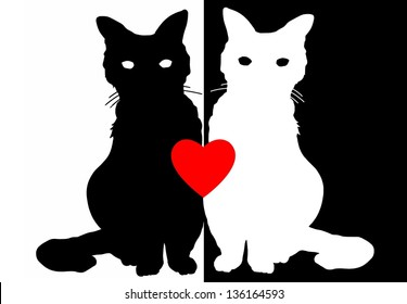 Yin Yang Opposite Love Cats in Black and White Silhouettes