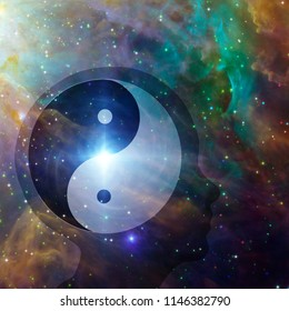 Yin Yang Sign inside Head Silhouette. Vivid space. 3D rendering